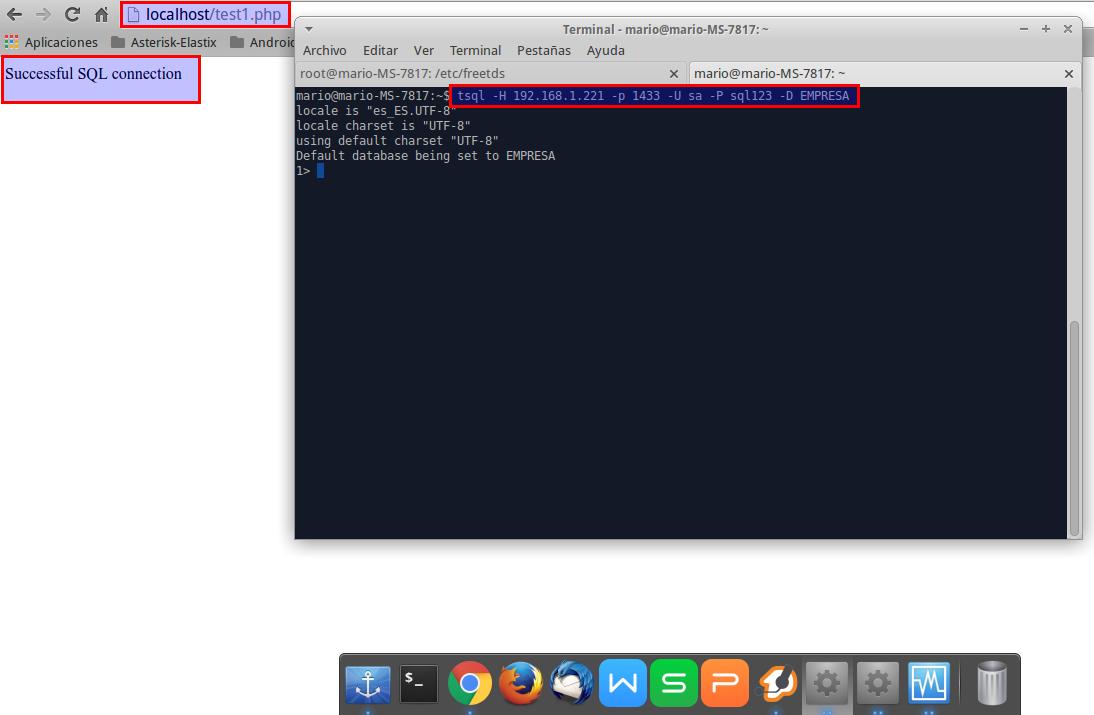 Conexión de Web PHP (Linux) a base de datos MS SQL (Windows